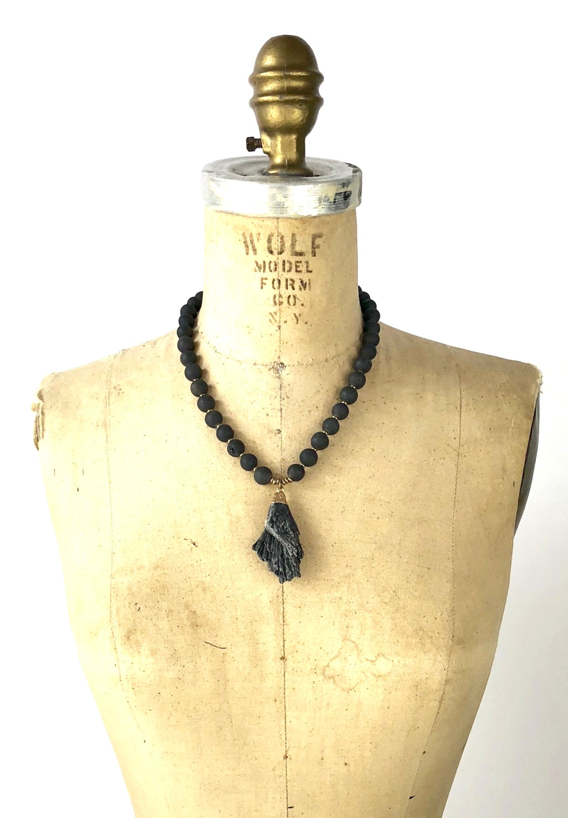 Sale OOK Black Druse with Black Kyanite Pendant Necklace