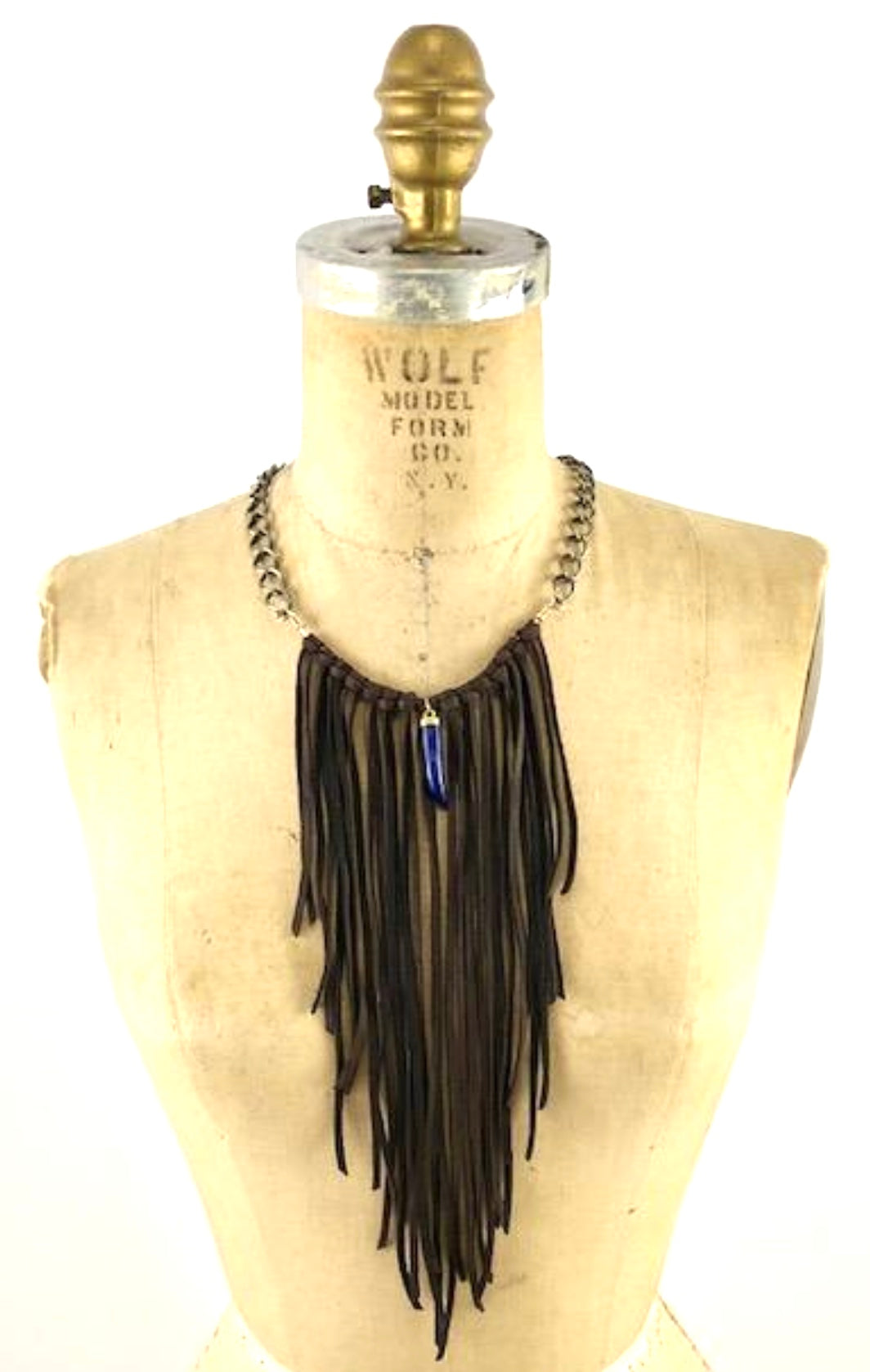 Leather Fringe Necklace with Lapis Lazuli Horn
