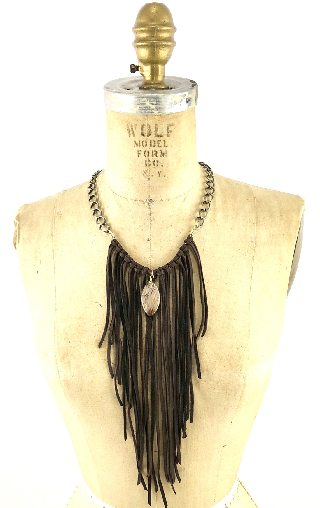 Leather Fringe Necklace with Petrified Wood Pendant
