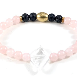 Diamond Quartz Crystal Diffuser Stretch Bracelet - 6mm