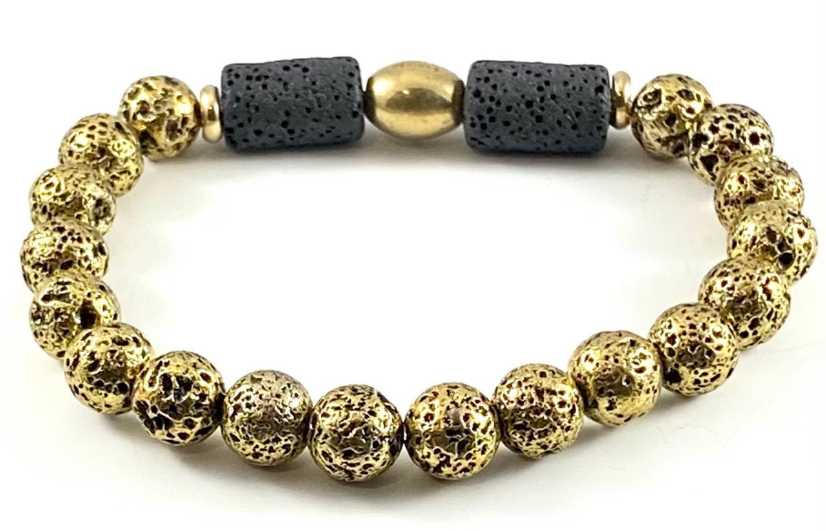 Special Edition Diffuser Bracelet & Essential Oil Set - 8mm Gold Electroplated Lava Stone