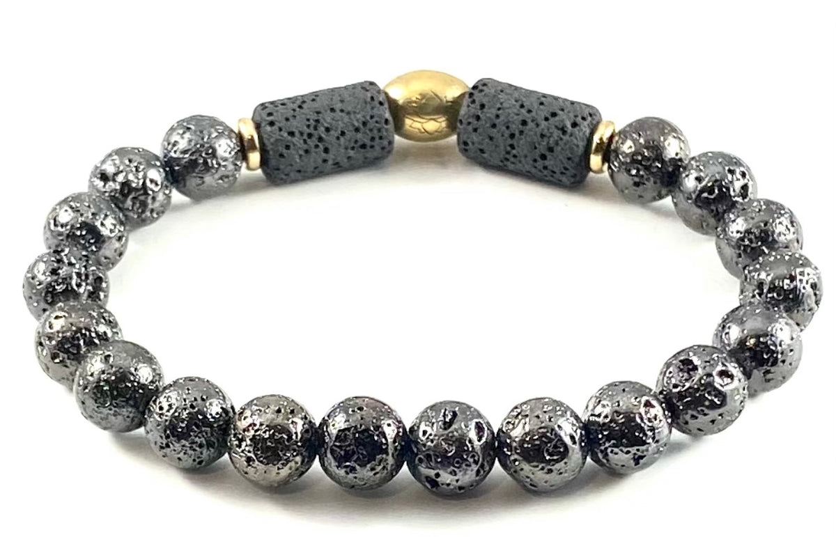 Special Edition Diffuser Bracelet & Essential Oil Set - 8mm Gunmetal Electroplated Lava Stone