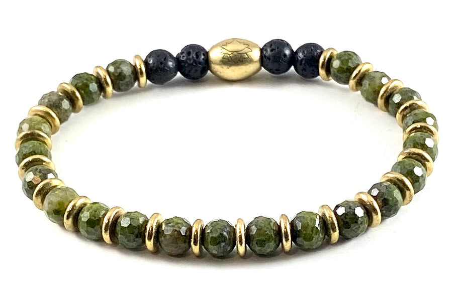 Faceted Epidote Diffuser Stretch Bracelet - 6mm