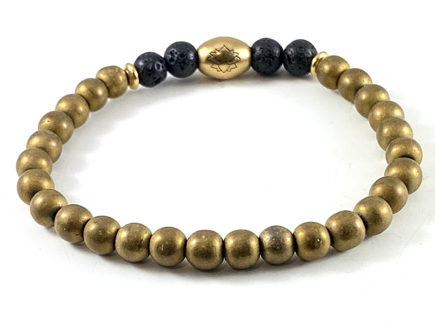 Gold Matte Electroplated Hematite Diffuser Stretch Bracelet - 6mm