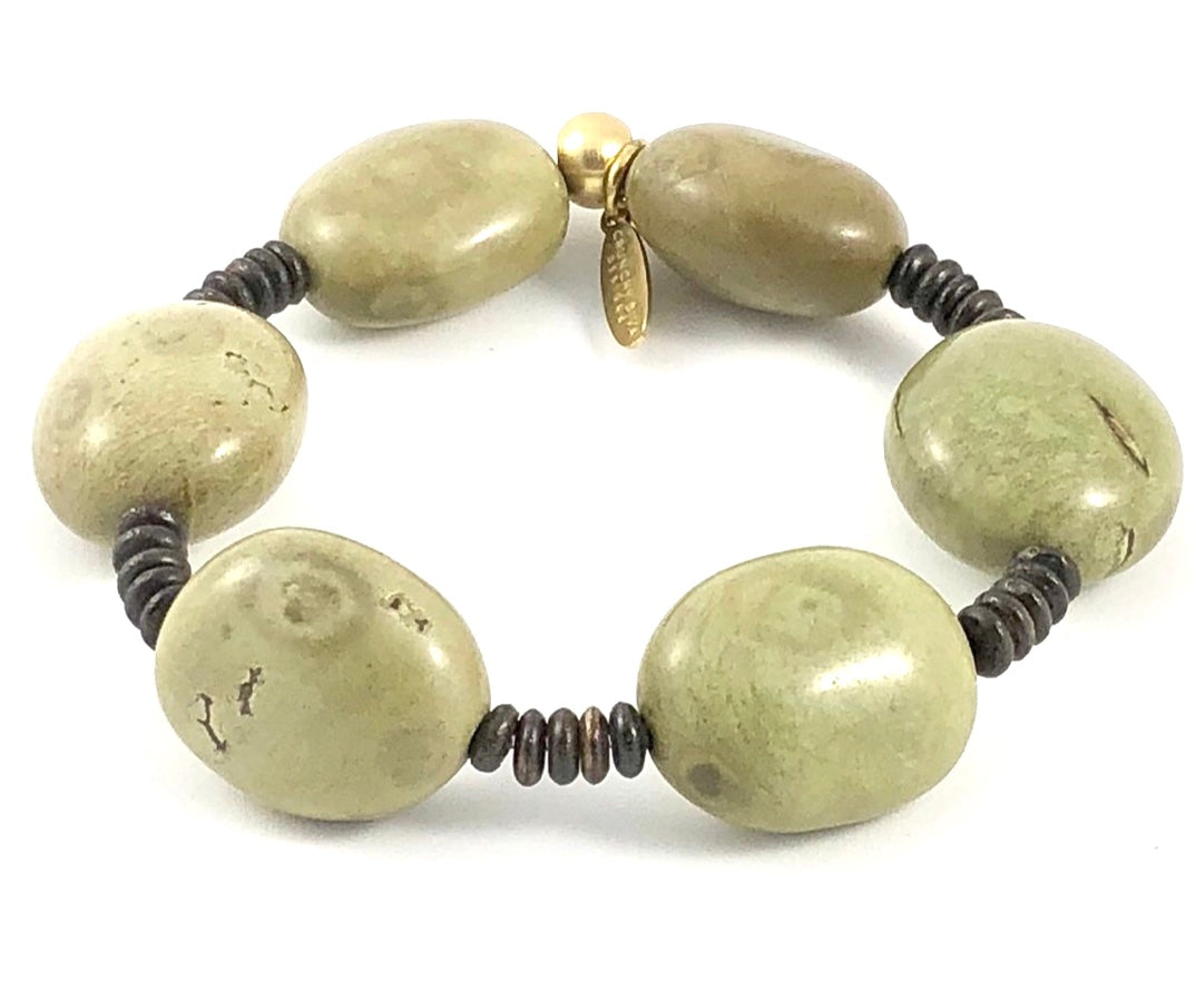 Sale Olive Green Jasper Stretch Bracelet