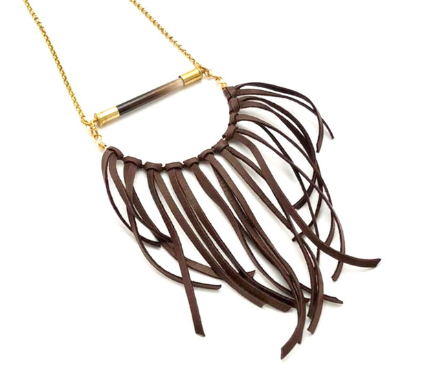 African Porcupine Quill - Half Circle Leather Fringe Necklace