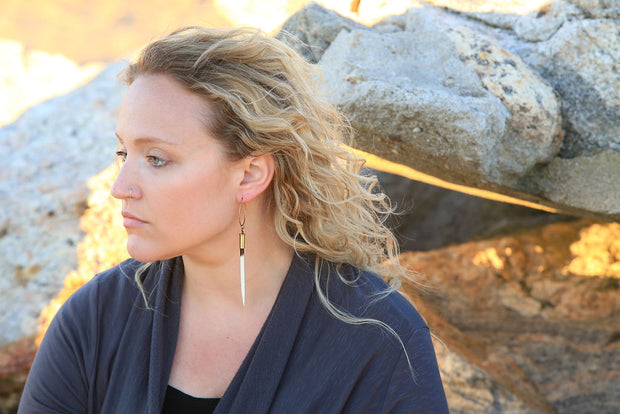 African Porcupine Quill Earrings - Brass Hoops 1