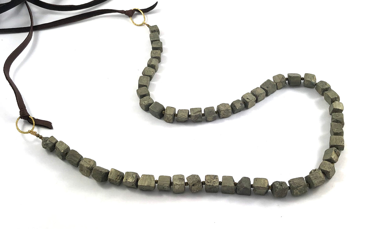 Pyrite Nugget Beads on Leather Necklace