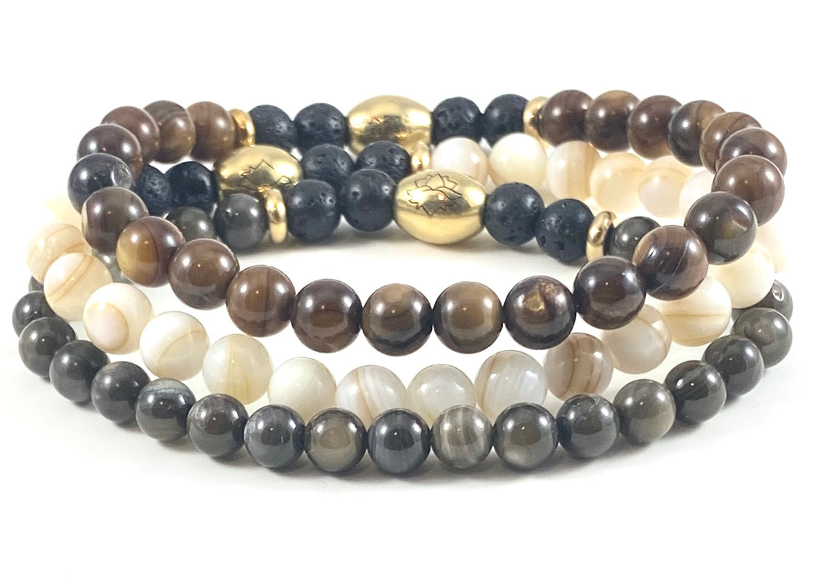 Mother of Pearl Diffuser Stretch Bracelet Set