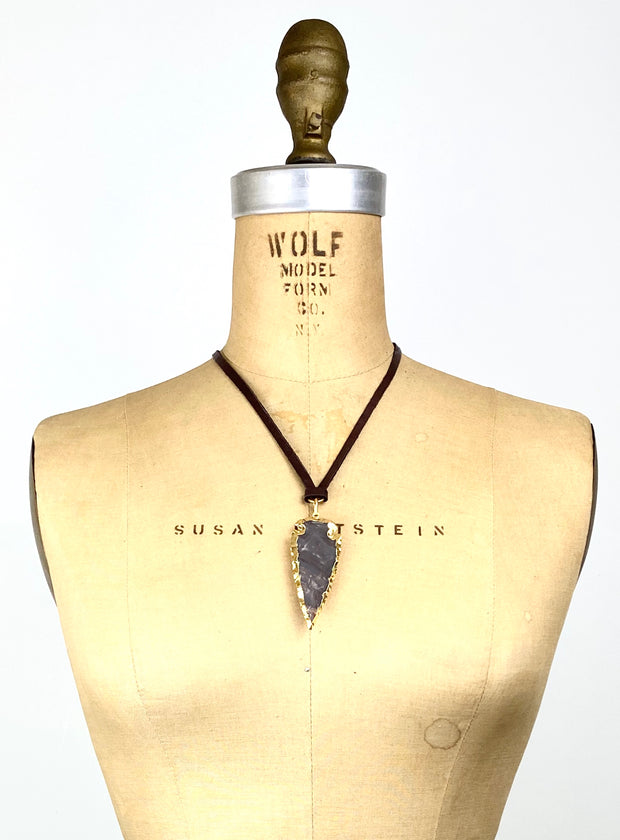 Leather Cord Necklace - Small Agate Arrow