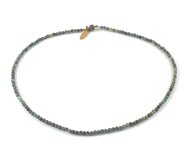 Semi-Precious Beaded Choker Necklace - 3mm