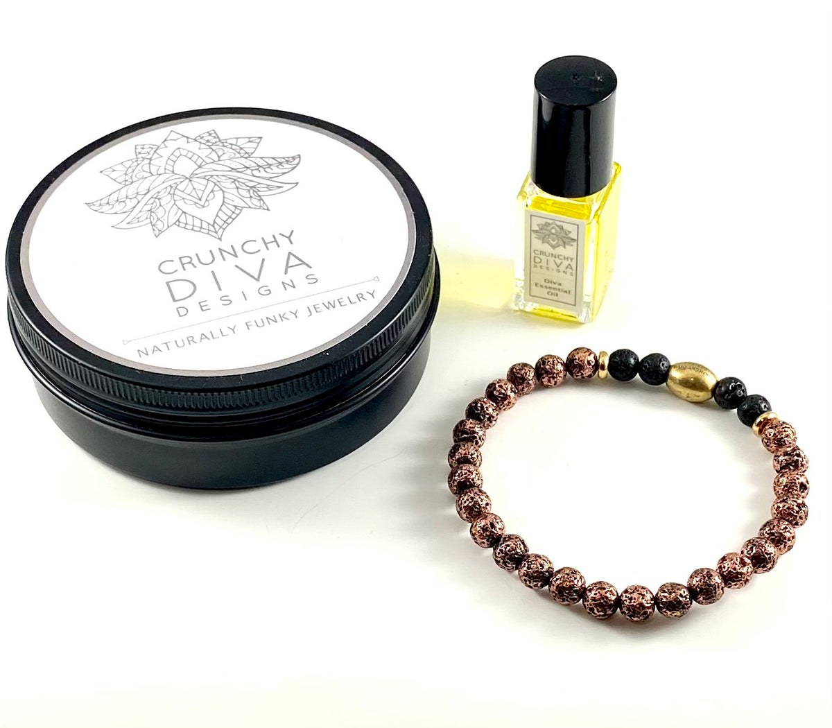 Special Edition Diffuser Bracelet & Essential Oil Set - 6mm Copper Electroplated Lava Stone