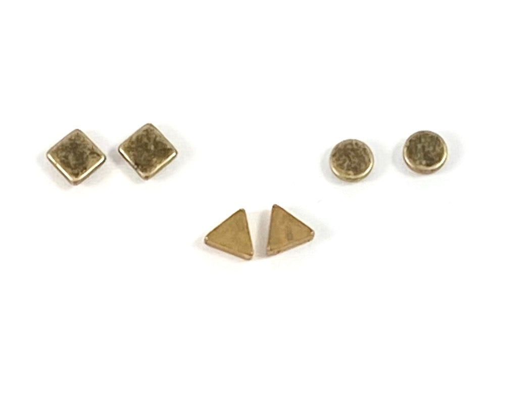 Brass Geometric Stud Earrings