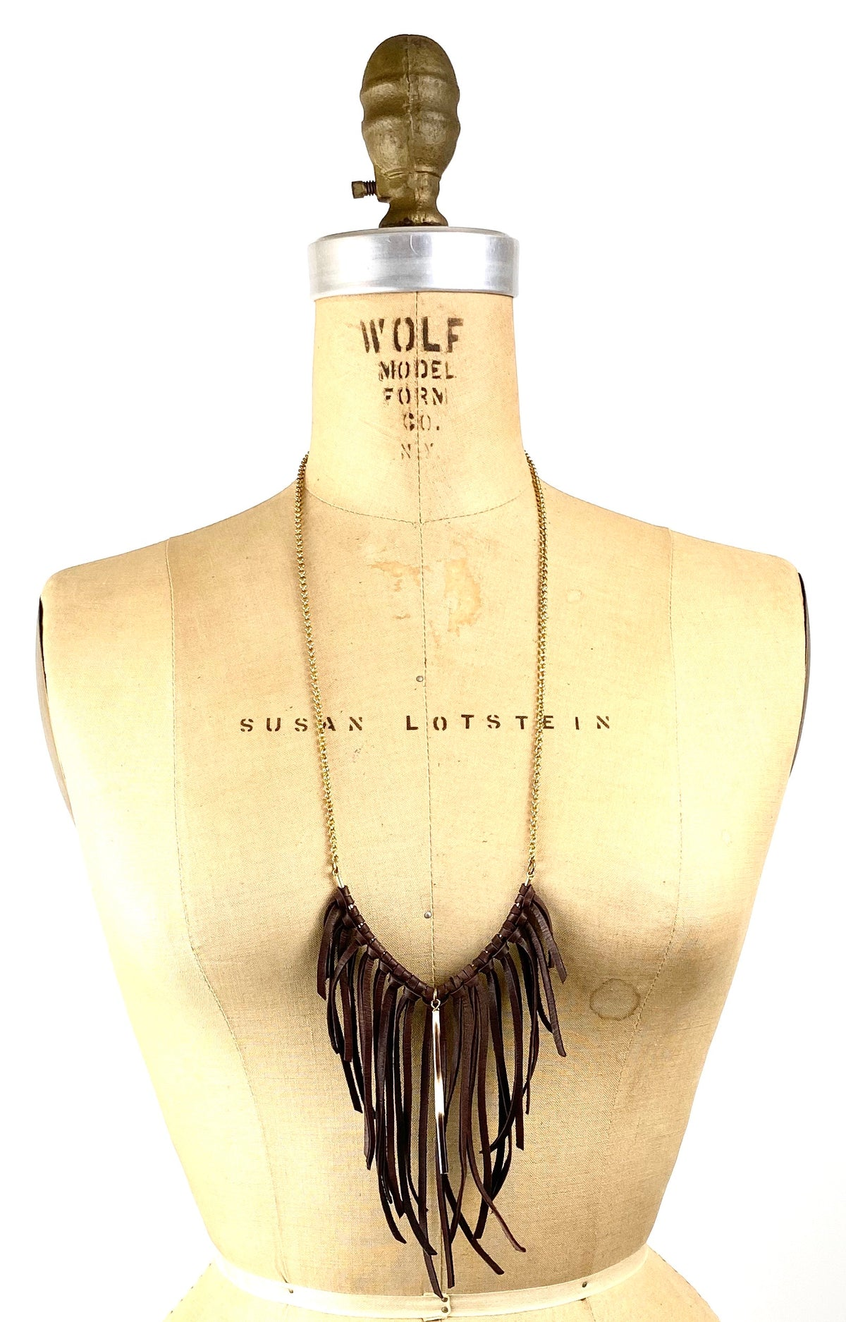 African Porcupine Quill - Thin Quill V Leather Fringe Necklace