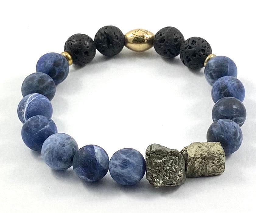 Pyrite Nugget Diffuser Stretch Bracelet - 10mm