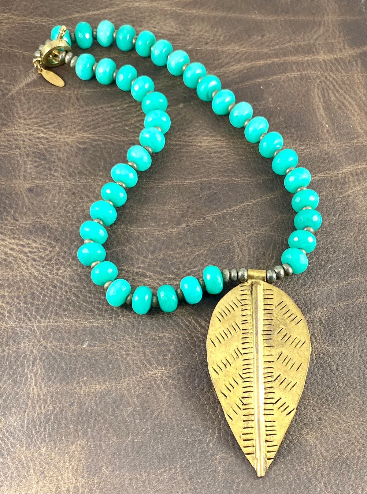 Sale OOK Amazonite with Brass Leaf Pendant Necklace