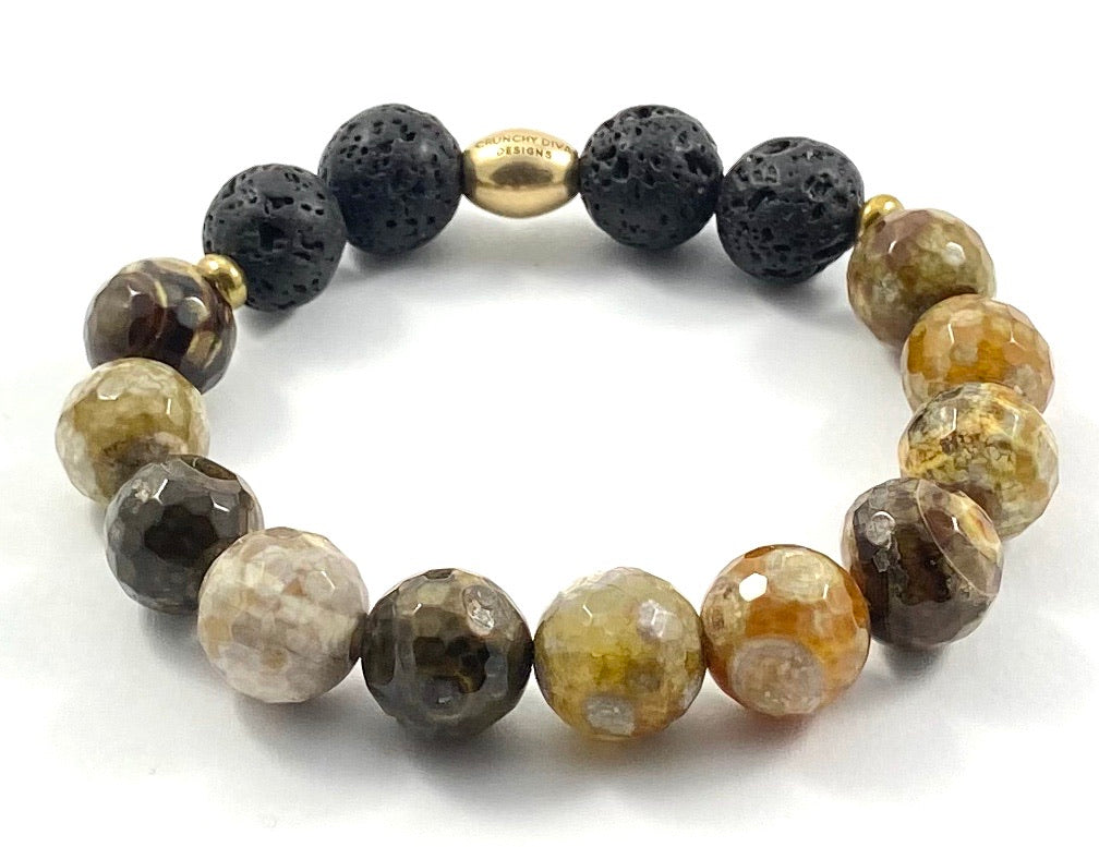 Semi-Precious Stone Diffuser Stretch Bracelet - 12mm