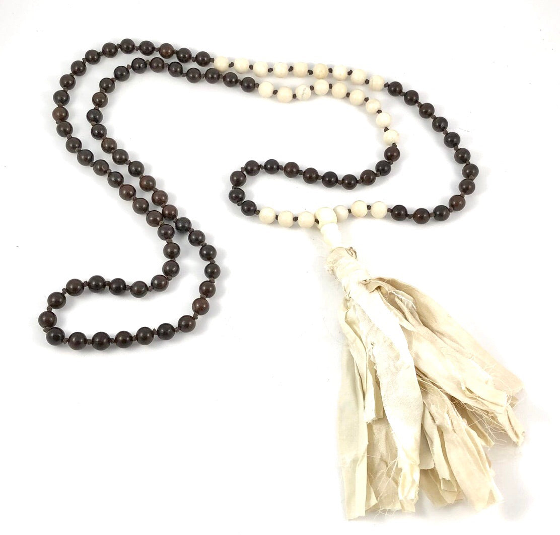 Wood Mala With Recycled Silk Sari Tassel