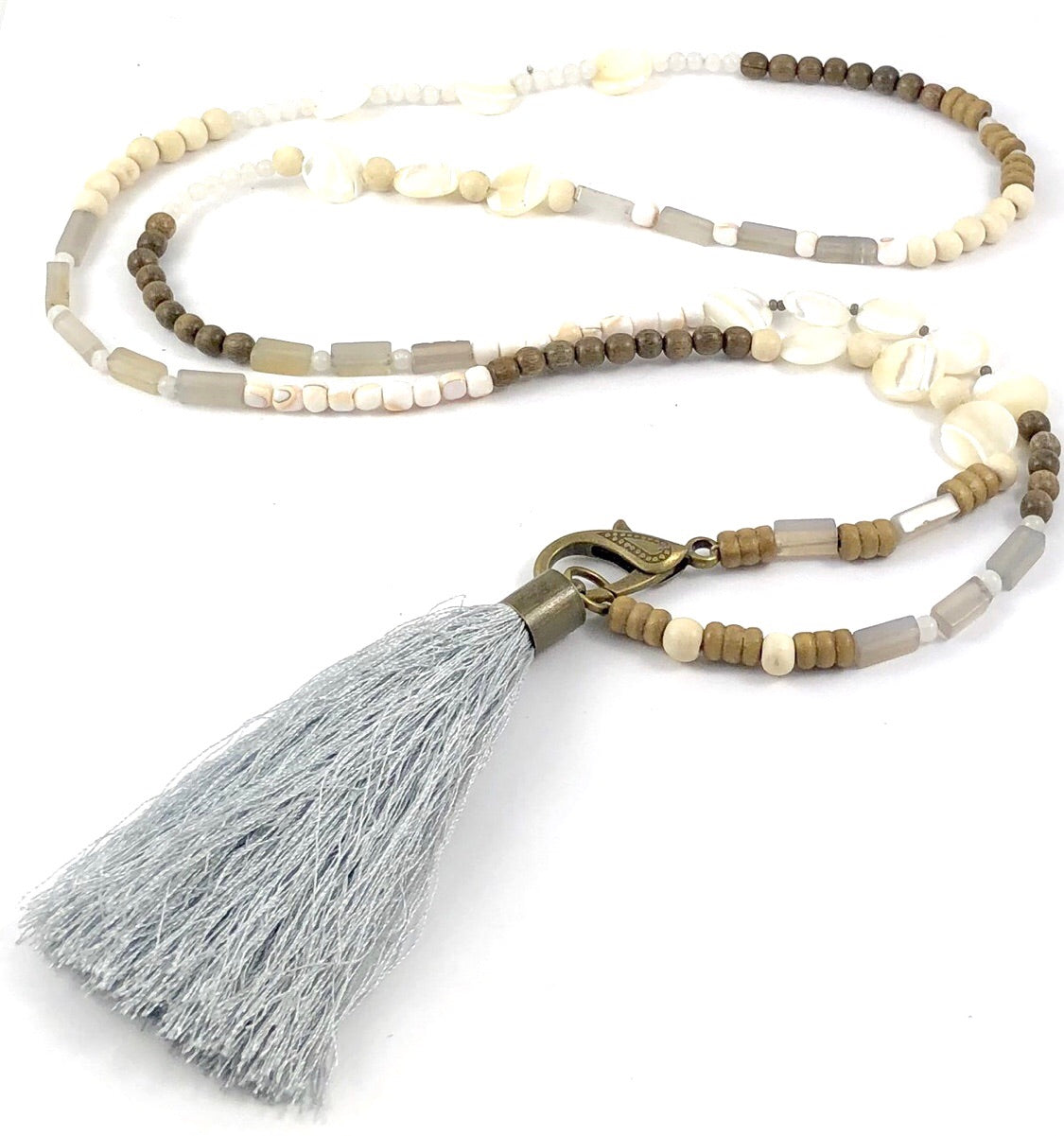 Sale Beaded Lariat Necklace with Silk Tassel