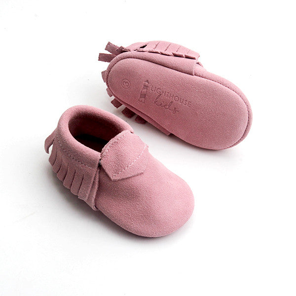 Comfort Baby Moccasins - Dusty Rose