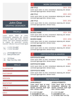 Clean Resume Template - Red - GemResume