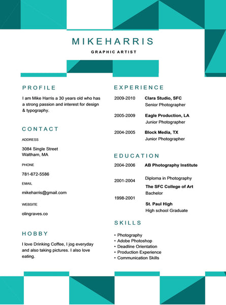 Free Clean Resume Template - GemResume