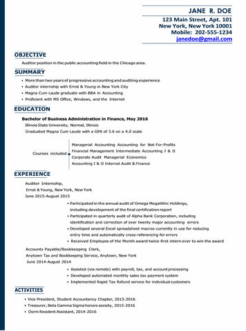 Accounting Resume Template - Download CV for Word – Gem Resume
