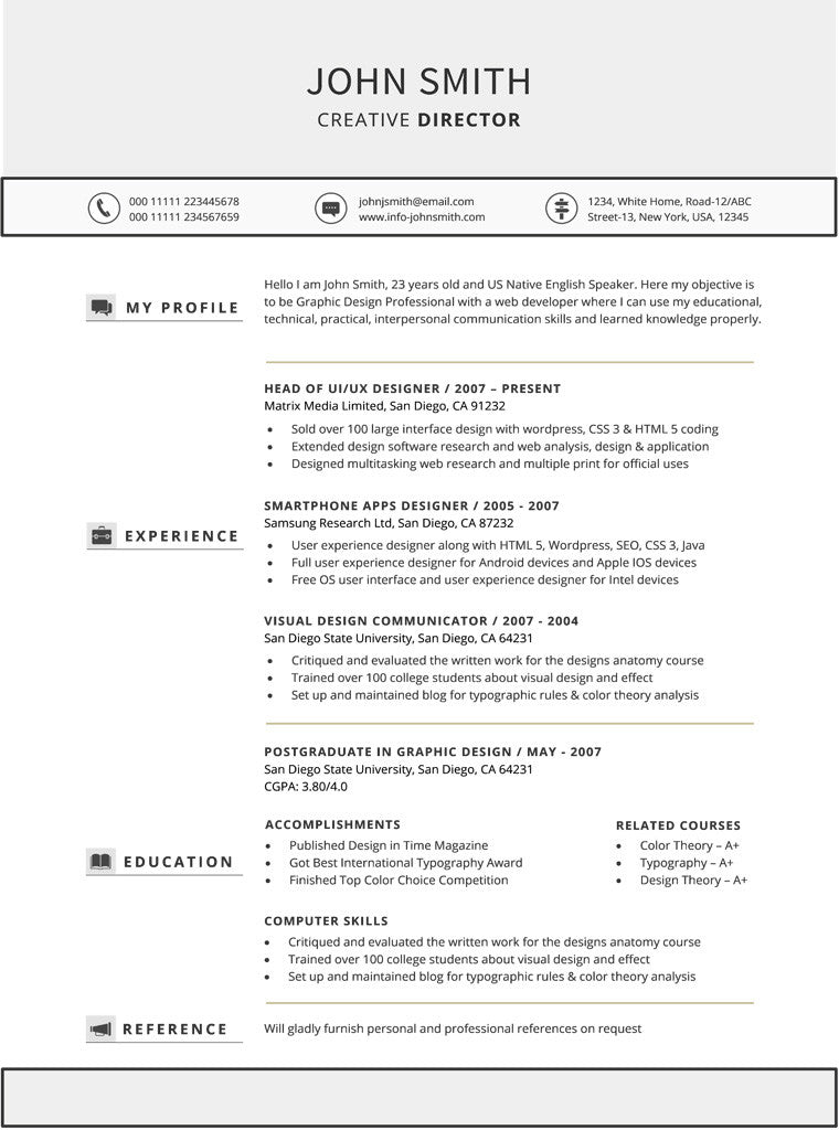 Chronological Resume Template - Buy Cv Template For Word – Gemresume