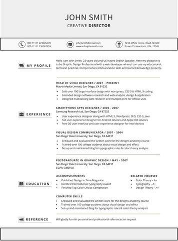 Chronological Resume Template  Buy Cv Template For Word  Gemresume