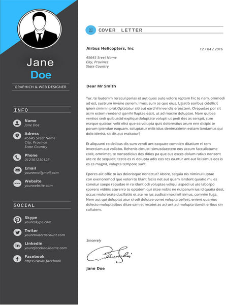 Buy Dark Gray Cover Letter Template | GemResume