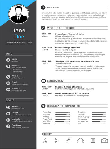 Dark Gray Resume Template - GemResume