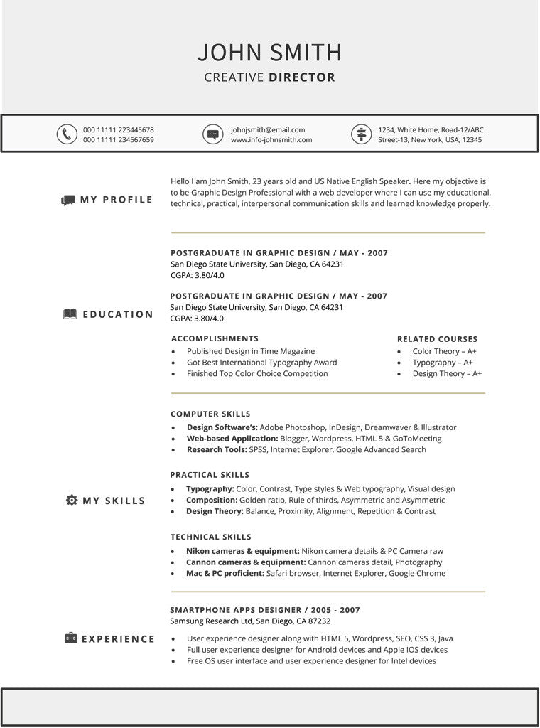 Functional Resume Template - Buy Cv Template For Word – Gemresume