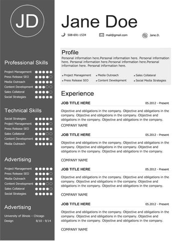 Gray Resume Template  Buy Cv Template For Word  Gemresume