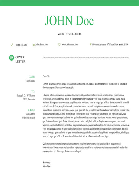 Buy Green Cover Letter Template | GemResume