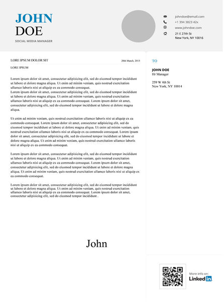 Infographic Cover Letter Template - GemResume