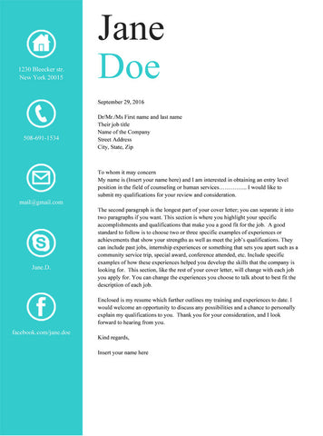 Buy Light Blue Cover Letter Template | GemResume