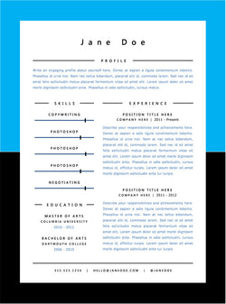 Blue Minimal Resume Template - GemResume