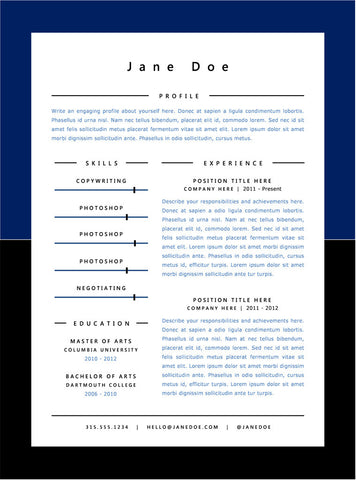 Dark Blue Minimal Resume Template - GemResume