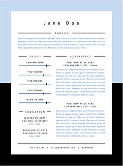 Light Blue Minimal Resume Template - GemResume