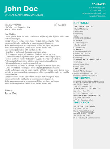Persian Green Cover Letter Template - GemResume