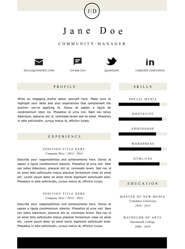 Simple Resume Template And Cover Letter   21   GemResume  Editable Resume Templates