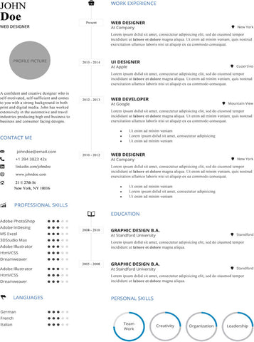 Simple Infographic Resume Template  Buy Cv Template For Word