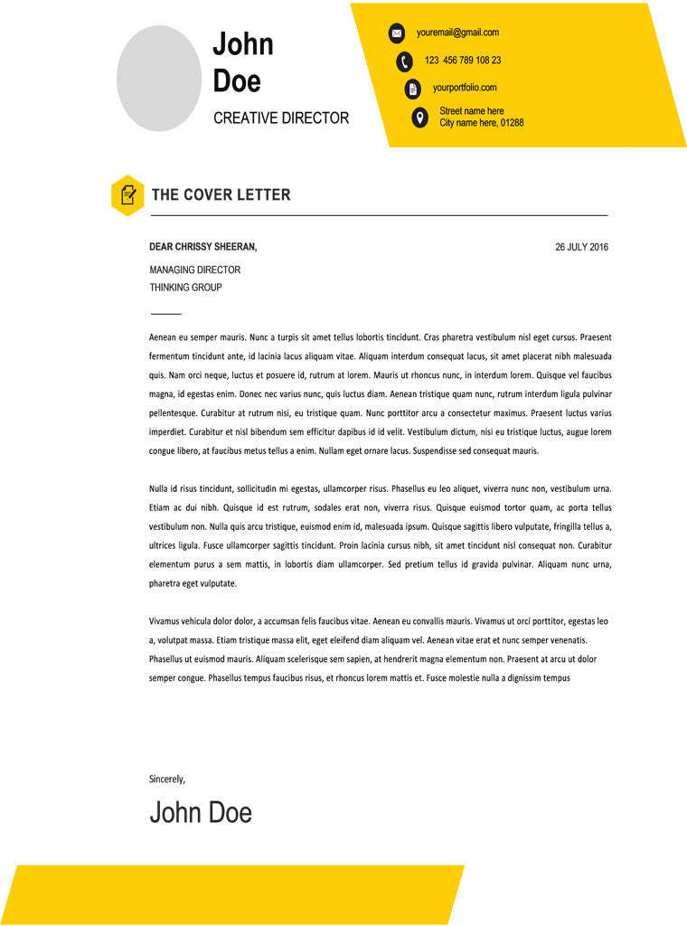 Yellow Cover Letter Template Word