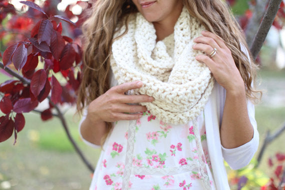 Chunky Infinity Scarf for Women in Cream