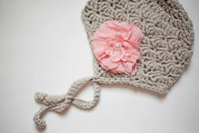 Gray Newborn Earflap Hat with Pink Flower