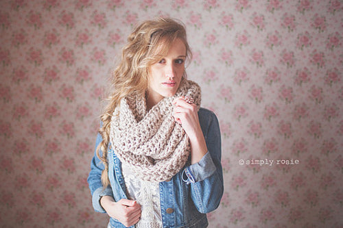 Crochet Chunky Cowl for Women in Linen