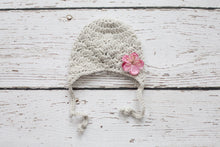 Baby Girl Earflap Hat in Grey with Pink Flower - 0 to 3 Months