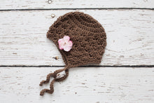 Girl's Brown Earflap Hat with Pink Flower