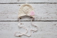 Cream Baby Hat with Earflaps, Silk Ties, Fabric Flower - Newborn