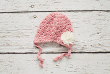 Pink Baby Earflap Hat with Cream Flower - 0 to 3 Months